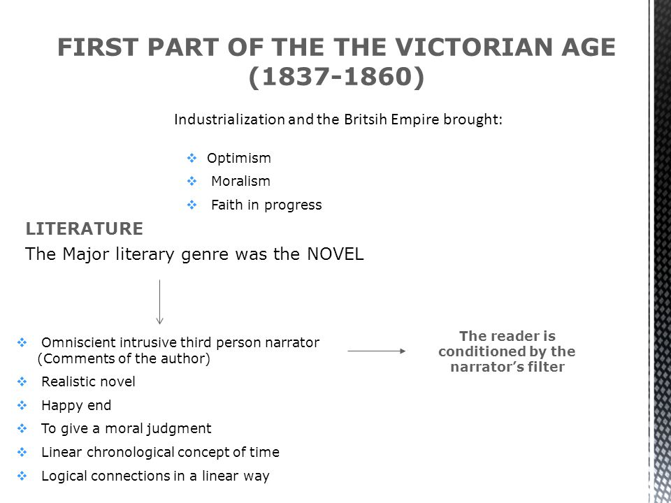 FIRST PART OF THE THE VICTORIAN AGE (1837-1860)  Optimism  Moralism  Faith in progress LITERATURE  Omniscient intrusive third person narrator (Comments of the author)  Realistic novel  Happy end  To give a moral judgment  Linear chronological concept of time  Logical connections in a linear way The reader is conditioned by the narrator's filter Industrialization and the Britsih Empire brought: The Major literary genre was the NOVEL
