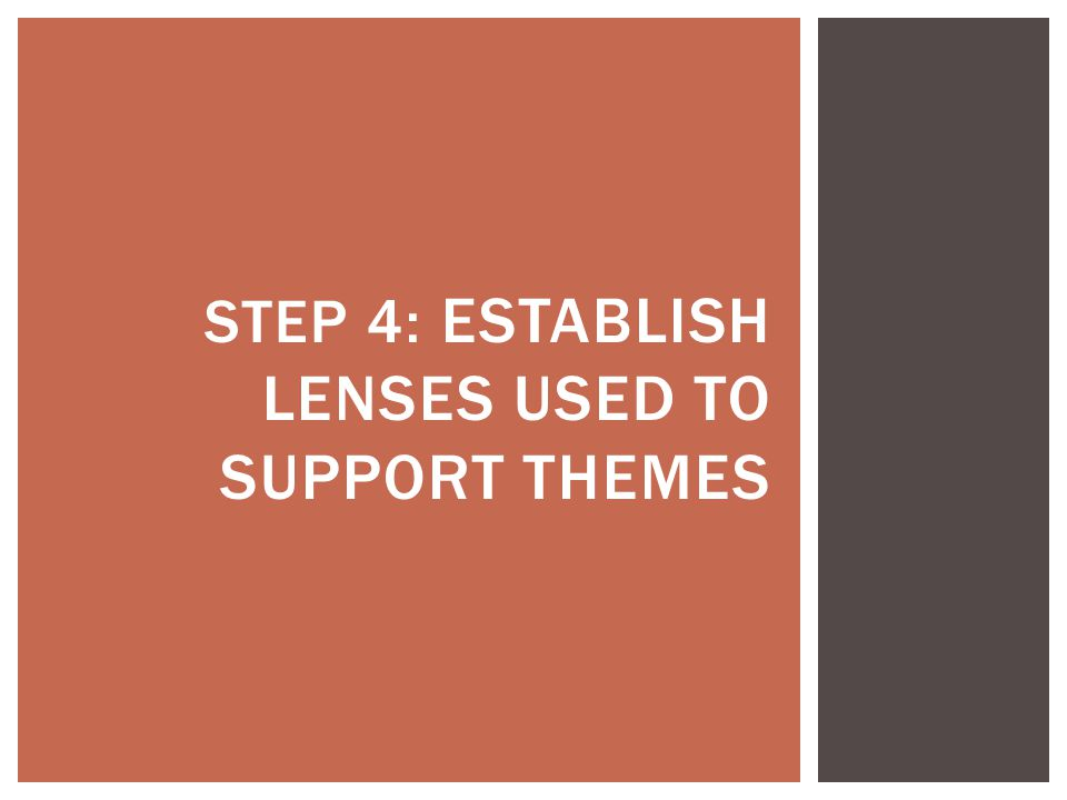 STEP 4: ESTABLISH LENSES USED TO SUPPORT THEMES