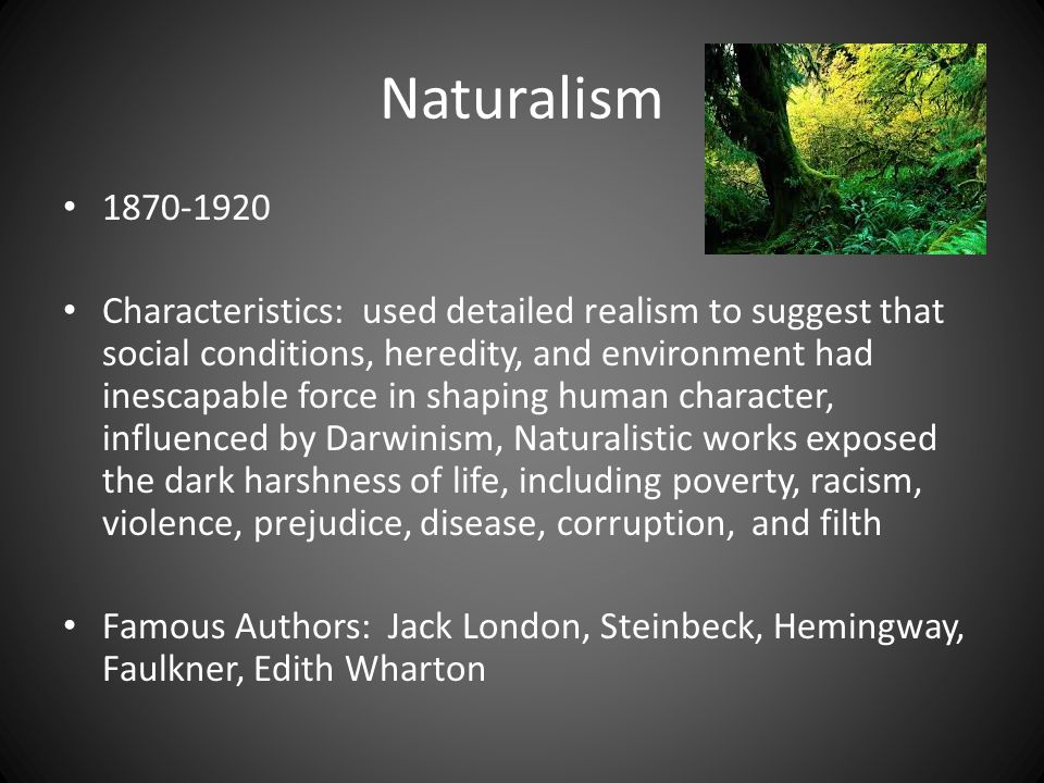 Naturalism 1870-1920 Characteristics: used detailed realism to suggest that social conditions, heredity, and environment had inescapable force in shap