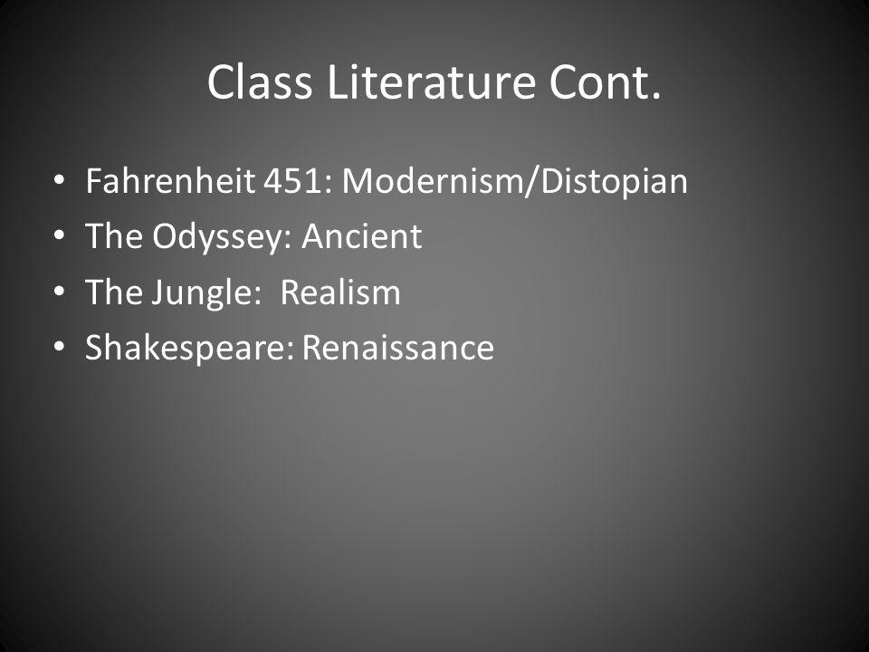 Class Literature Cont. Fahrenheit 451: Modernism/Distopian The Odyssey: Ancient The Jungle: Realism Shakespeare: Renaissance