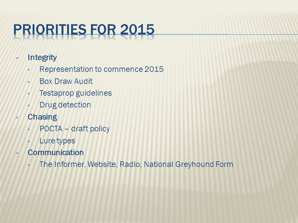 Integrity Representation to commence 2015 Box Draw Audit Testaprop guidelines Drug detection Chasing POCTA – draft policy Lure types Communication The Informer, Website, Radio, National Greyhound Form