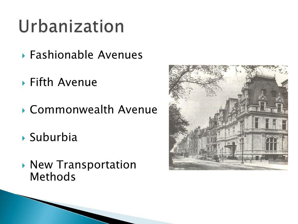  Fashionable Avenues  Fifth Avenue  Commonwealth Avenue  Suburbia  New Transportation Methods