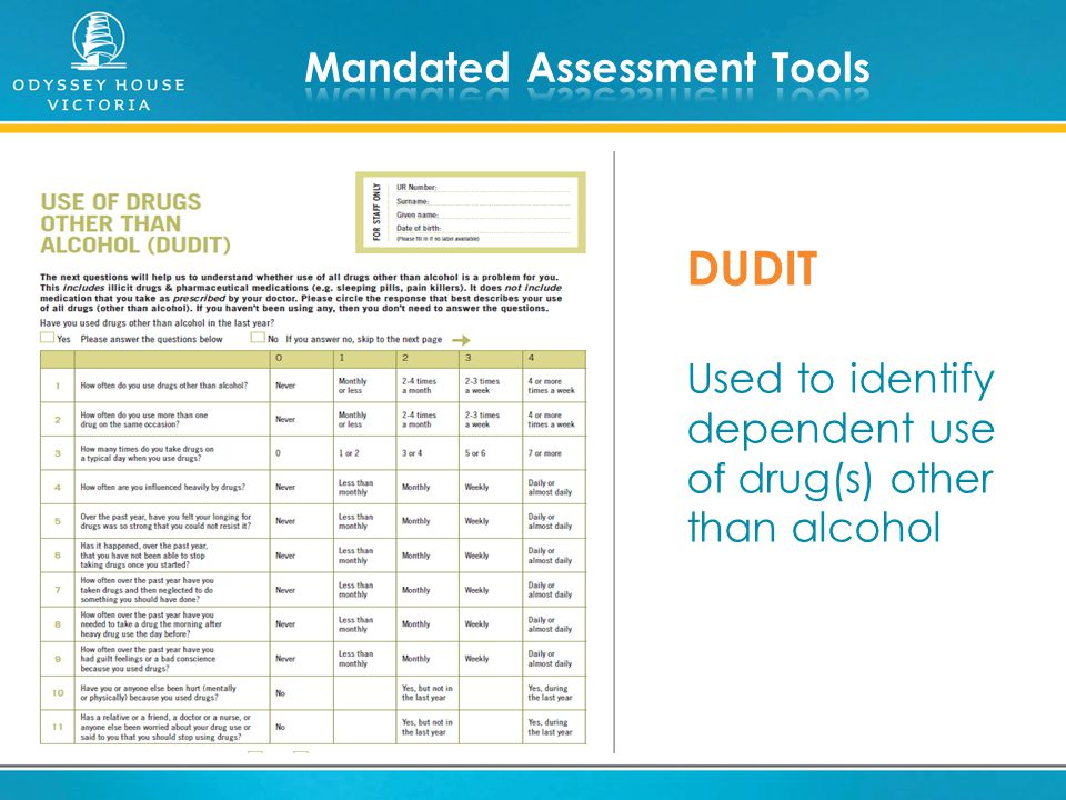 DUDIT Used to identify dependent use of drug(s) other than alcohol
