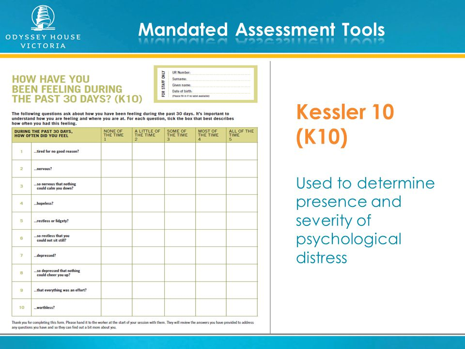 Kessler 10 (K10) Used to determine presence and severity of psychological distress