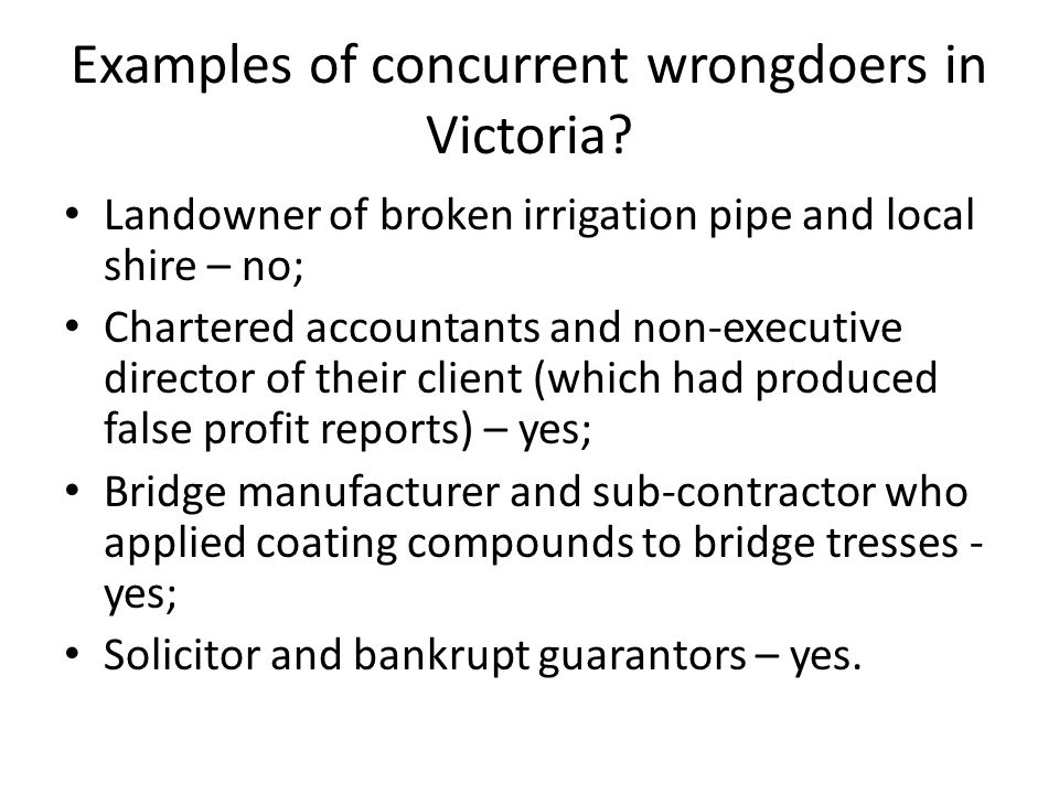 Examples of concurrent wrongdoers in Victoria.