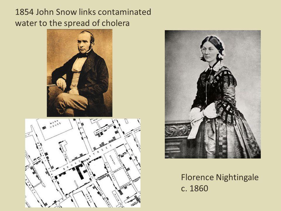 Florence Nightingale c. 1860 1854 John Snow links contaminated water to the spread of cholera