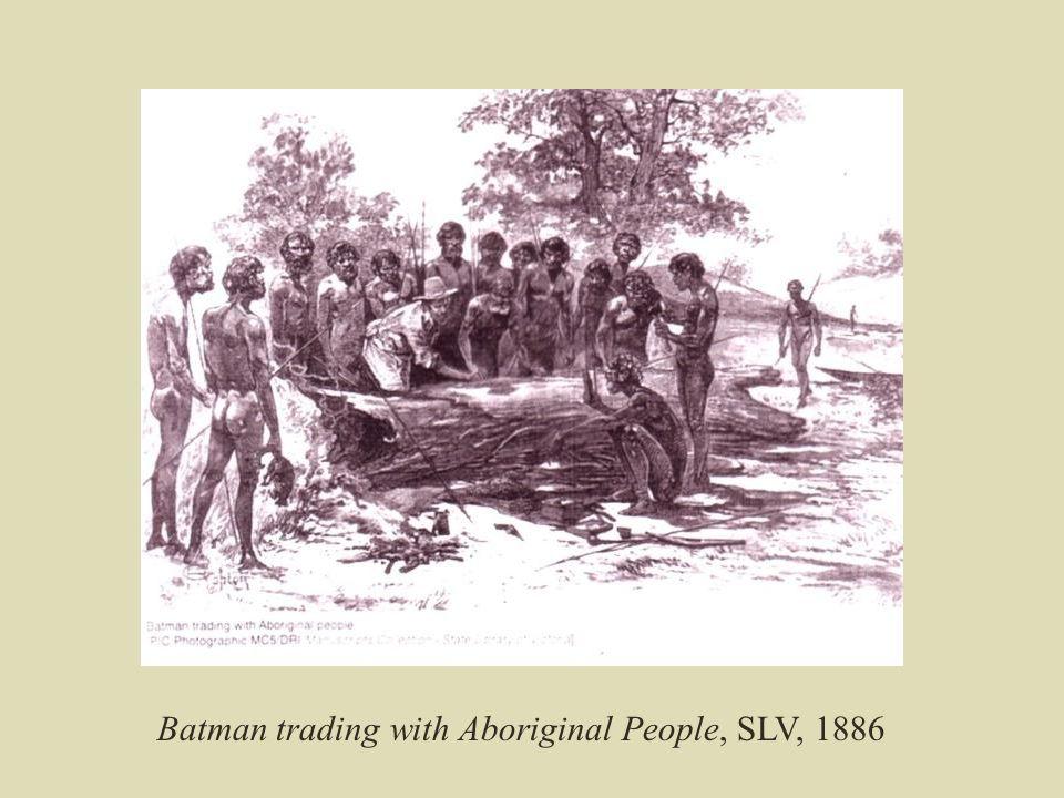 Batman trading with Aboriginal People, SLV, 1886
