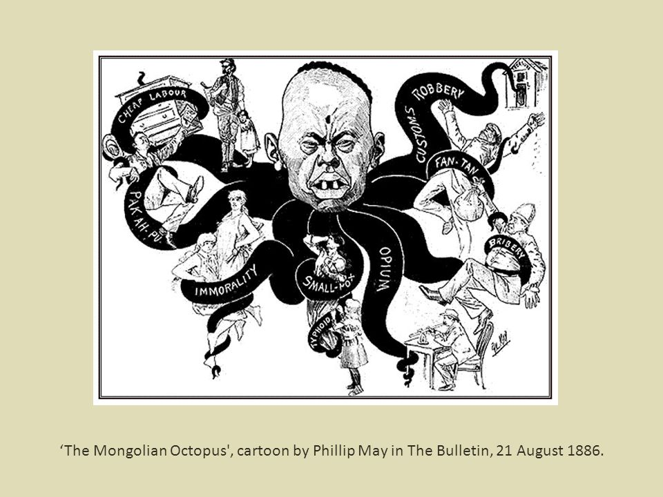 'The Mongolian Octopus , cartoon by Phillip May in The Bulletin, 21 August 1886.