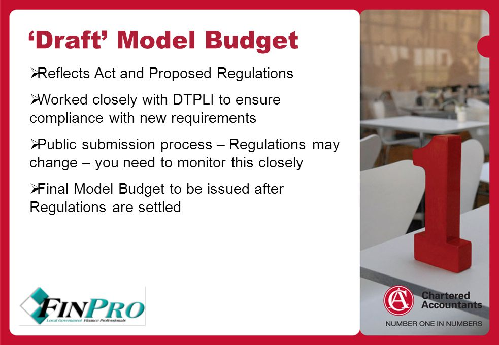 Heading Style Body copy > Bullet style 'Draft' Model Budget  Reflects Act and Proposed Regulations  Worked closely with DTPLI to ensure compliance with new requirements  Public submission process – Regulations may change – you need to monitor this closely  Final Model Budget to be issued after Regulations are settled