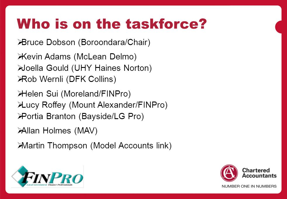 Who is on the taskforce.
