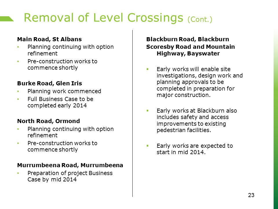 Removal of Level Crossings (Cont.) Main Road, St Albans Planning continuing with option refinement Pre-construction works to commence shortly Burke Ro