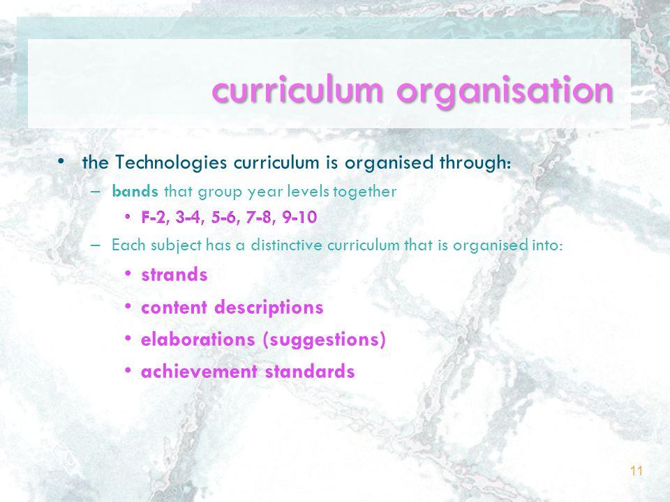 curriculum organisation 11