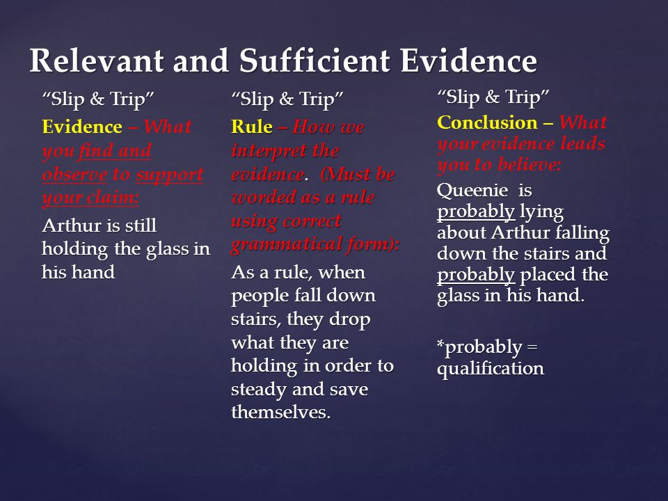 Relevant and Sufficient Evidence Slip & Trip Evidence – What you find and observe to support your claim: Arthur is still holding the glass in his hand Slip & Trip Rule – How we interpret the evidence.