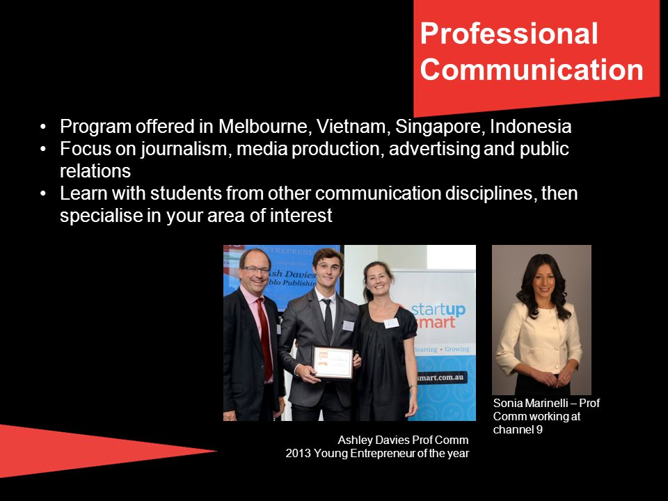 Communication degree structure Professional Communication, Journalism, Public Relations, Media, Advertising Professional strandContextual studiesSchool and University Electives Complete at least half your coursework in your specialised stream per semester over the 3 years (24cp per semester).