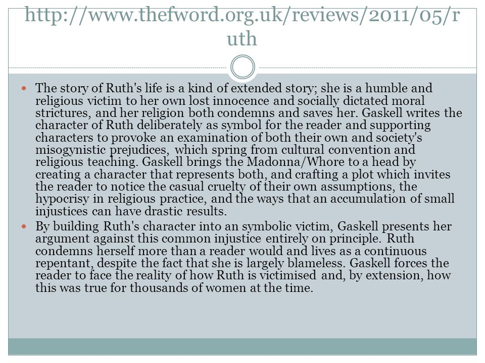 http://www.thefword.org.uk/reviews/2011/05/r uth The story of Ruth's life is a kind of extended story; she is a humble and religious victim to her own