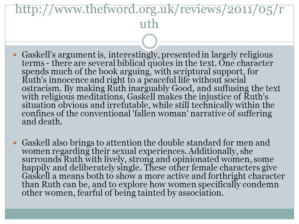 http://www.thefword.org.uk/reviews/2011/05/r uth Gaskell's argument is, interestingly, presented in largely religious terms - there are several biblic