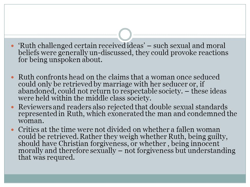 'Ruth challenged certain received ideas' – such sexual and moral beliefs were generally un-discussed, they could provoke reactions for being unspoken