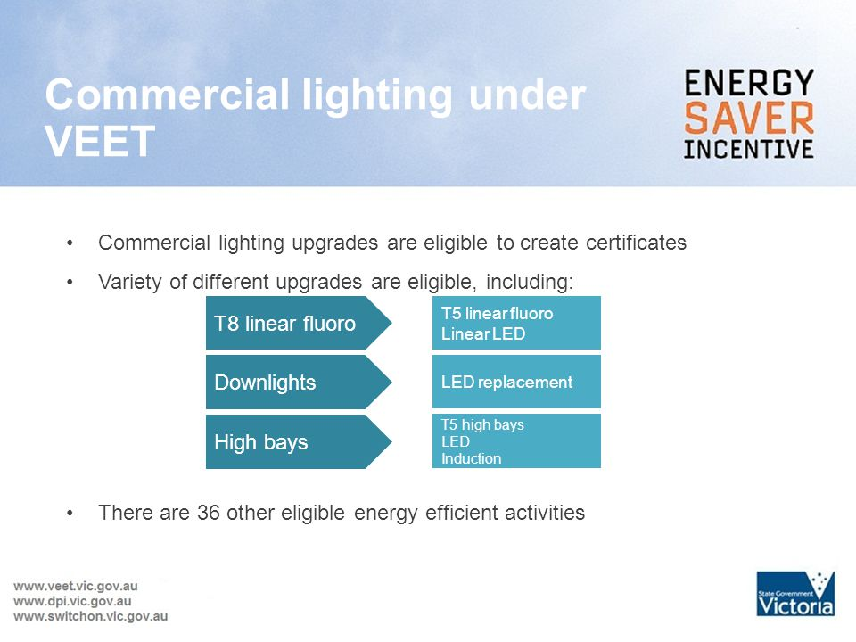 Commercial lighting under VEET Commercial lighting upgrades are eligible to create certificates Variety of different upgrades are eligible, including: There are 36 other eligible energy efficient activities T8 linear fluoro T5 linear fluoro Linear LED Downlights LED replacement High bays T5 high bays LED Induction