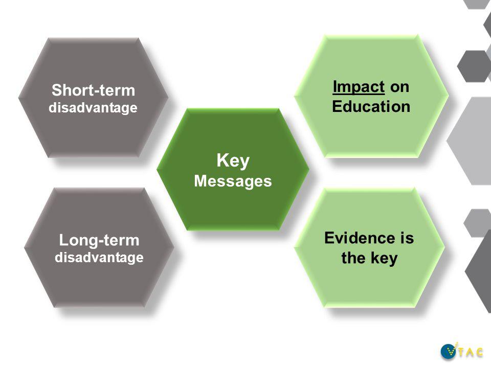 Key Messages Impact on Education Short-term disadvantage Short-term disadvantage Long-term disadvantage Long-term disadvantage Evidence is the key