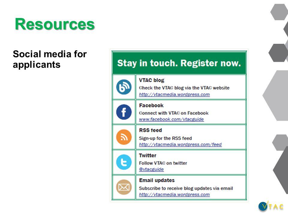Resources Social media for applicants