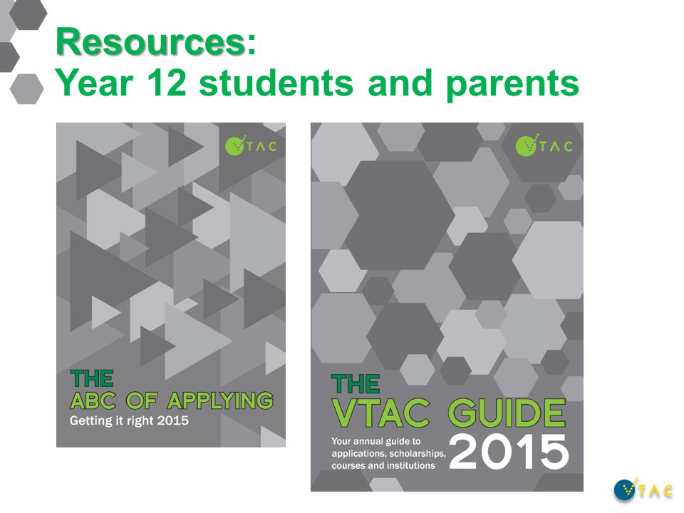 Resources Resources: Year 12 students and parents