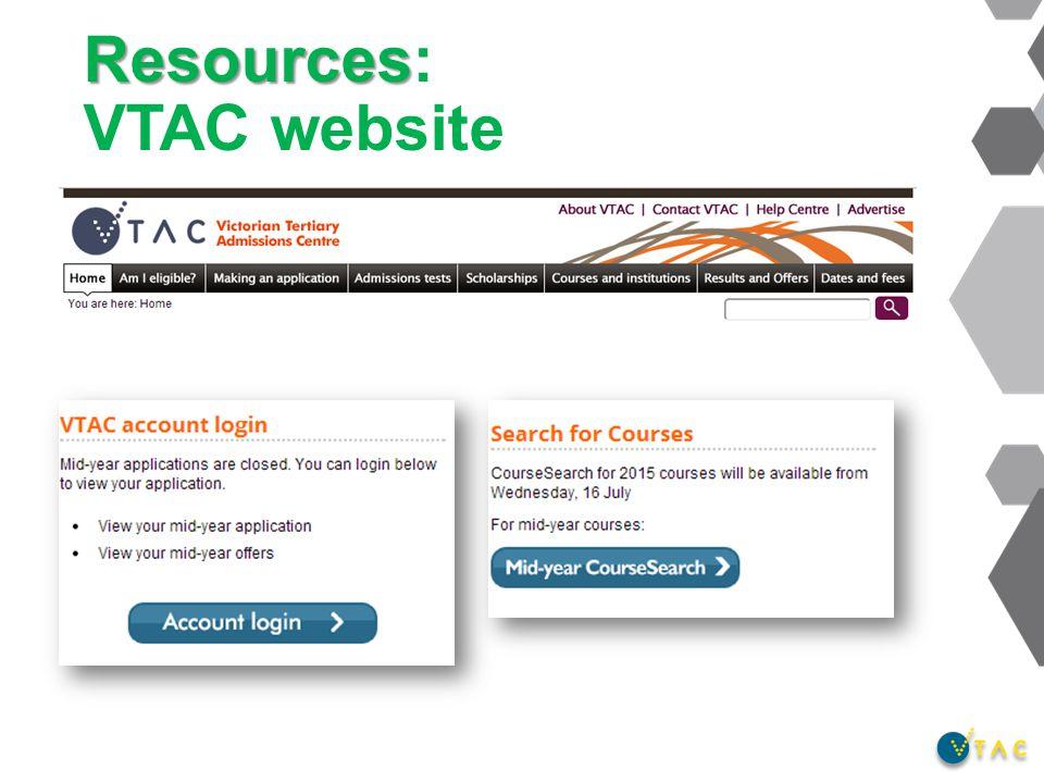 Resources Resources: VTAC website