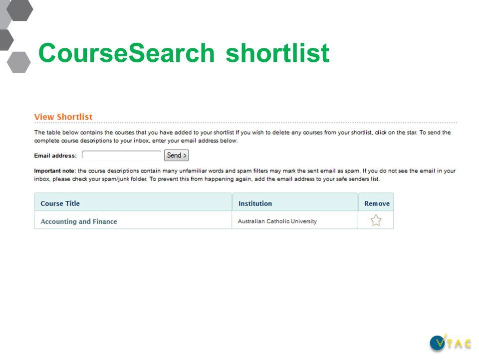 CourseSearch shortlist