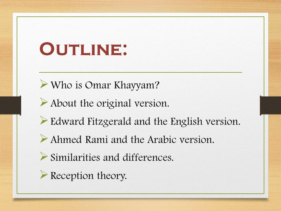The English and the Arabic versions are different in their: understanding of the themes.