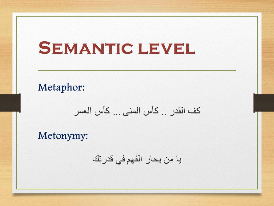 Metaphor: كف القدر.. كأس المنى... كأس العمر Metonymy: يا من يحار الفهم في قدرتك