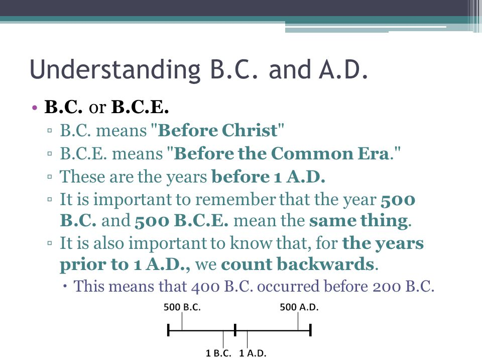 Understanding B.C. and A.D. B.C. or B.C.E. ▫B.C.