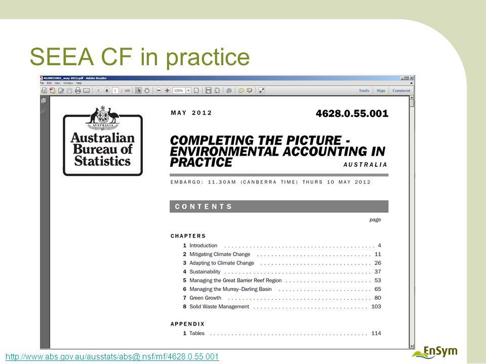 SEEA CF in practice http://www.abs.gov.au/ausstats/abs@.nsf/mf/4628.0.55.001