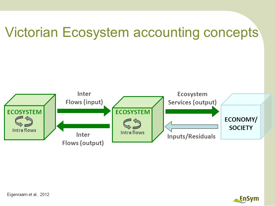 Victorian Ecosystem accounting concepts Inter Flows (input) Inter Flows (output) ECOSYSTEM Ecosystem Services (output) Inputs/Residuals ECOSYSTEM ECONOMY/ SOCIETY Intra flows Eigenraam et al., 2012