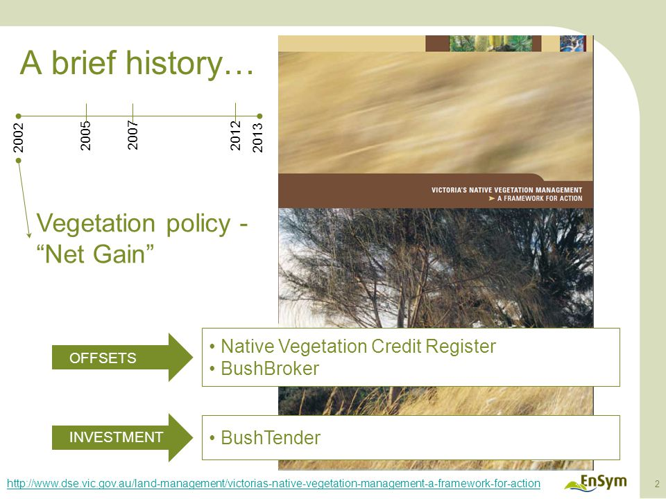 A brief history… 3 Vegetation type, extent and condition mapping 20022013 2007 20052010 http://mapshare2.dse.vic.gov.au/MapShare2EXT/imf.jsp?site=bim