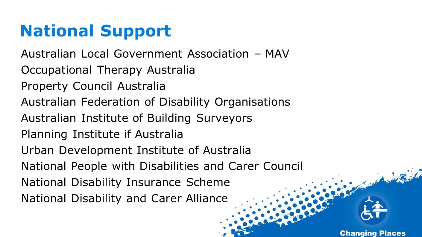 National Support Australian Local Government Association – MAV Occupational Therapy Australia Property Council Australia Australian Federation of Disability Organisations Australian Institute of Building Surveyors Planning Institute if Australia Urban Development Institute of Australia National People with Disabilities and Carer Council National Disability Insurance Scheme National Disability and Carer Alliance