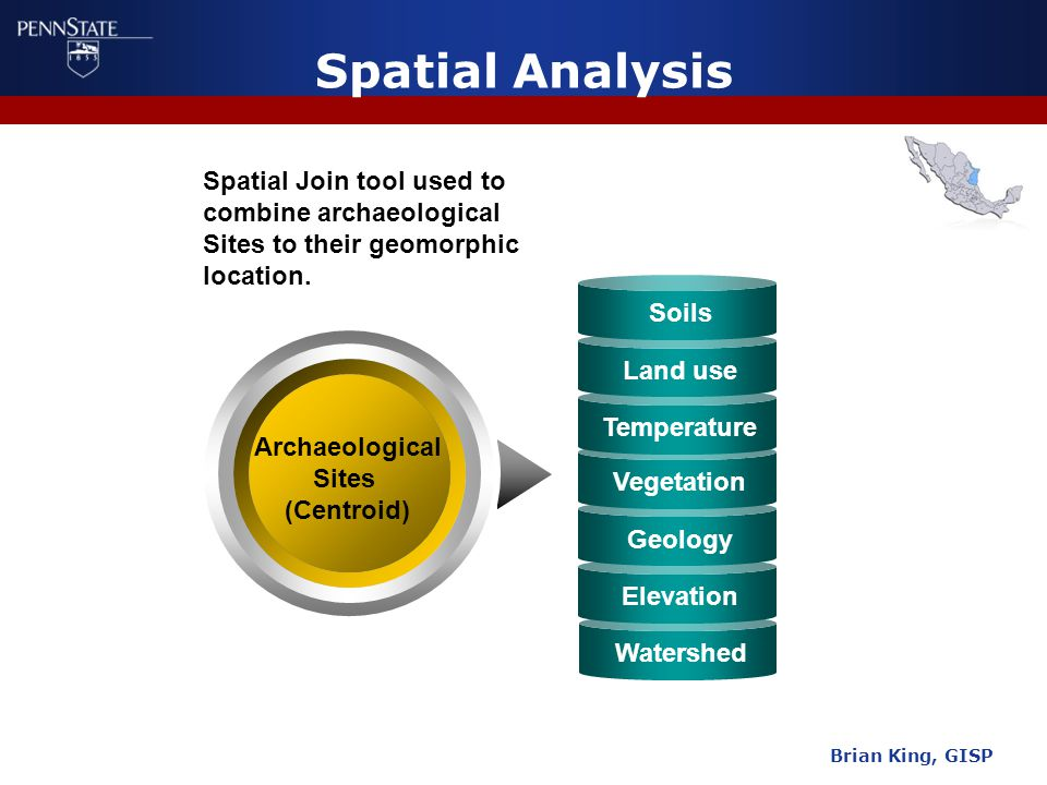 Watershed Vegetation Geology Elevation Spatial Analysis Brian King, GISP Archaeological Sites (Centroid) Soils Land use Temperature Spatial Join tool used to combine archaeological Sites to their geomorphic location.