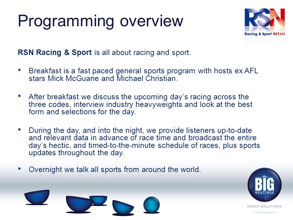 Programming overview RSN Racing & Sport is all about racing and sport.