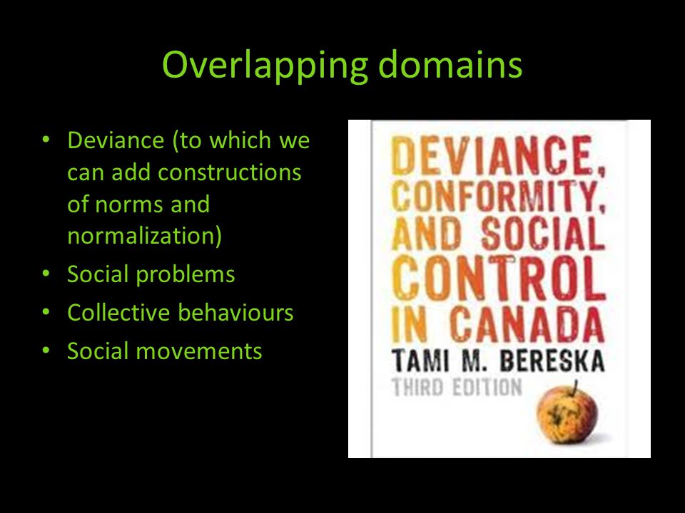 Overlapping domains Deviance (to which we can add constructions of norms and normalization) Social problems Collective behaviours Social movements
