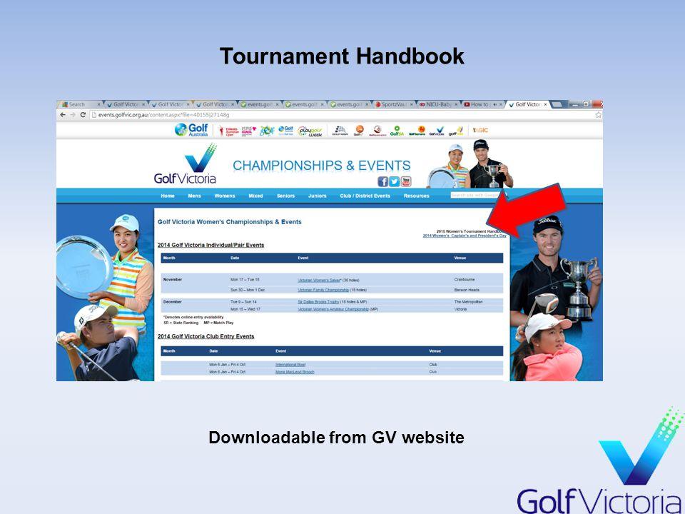 Tournament Handbook Downloadable from GV website