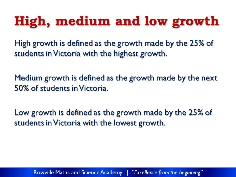 High, medium and low growth High growth is defined as the growth made by the 25% of students in Victoria with the highest growth.
