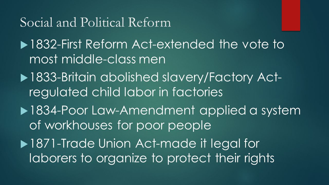 Social and Political Reform  1832-First Reform Act-extended the vote to most middle-class men  1833-Britain abolished slavery/Factory Act- regulated