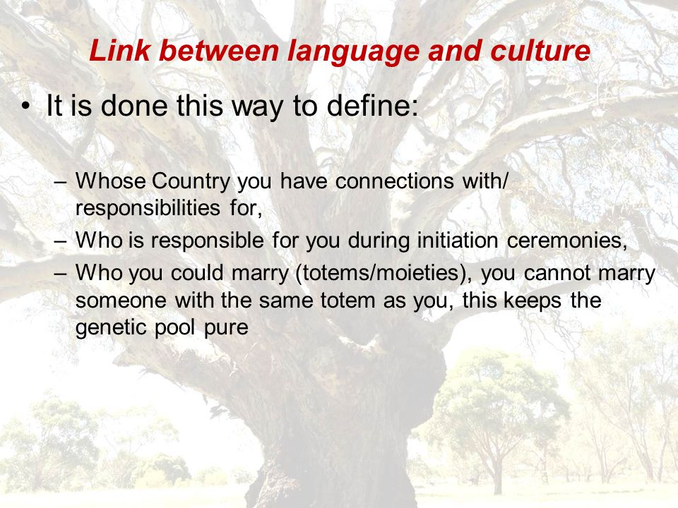 Link between language and culture It is done this way to define: –Whose Country you have connections with/ responsibilities for, –Who is responsible for you during initiation ceremonies, –Who you could marry (totems/moieties), you cannot marry someone with the same totem as you, this keeps the genetic pool pure