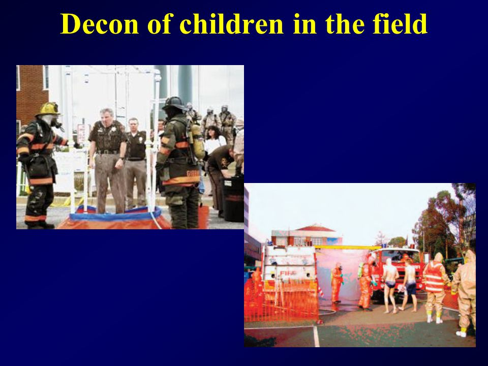 Decon of children in the field