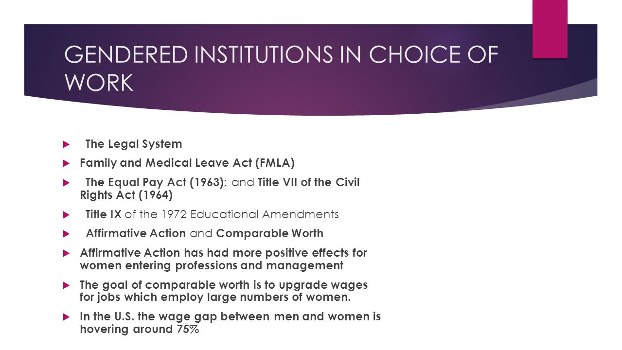 GENDERED INSTITUTIONS IN CHOICE OF WORK  The Legal System  Family and Medical Leave Act (FMLA)  The Equal Pay Act (1963) ; and Title VII of the Civil Rights Act (1964)  Title IX of the 1972 Educational Amendments  Affirmative Action and Comparable Worth  Affirmative Action has had more positive effects for women entering professions and management  The goal of comparable worth is to upgrade wages for jobs which employ large numbers of women.