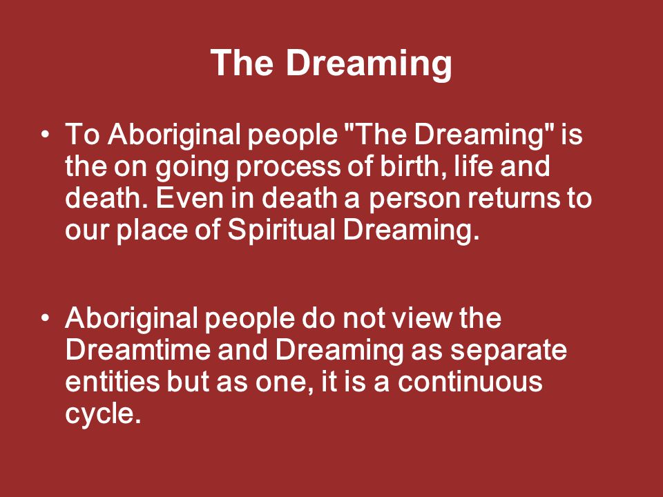 The Dreaming To Aboriginal people