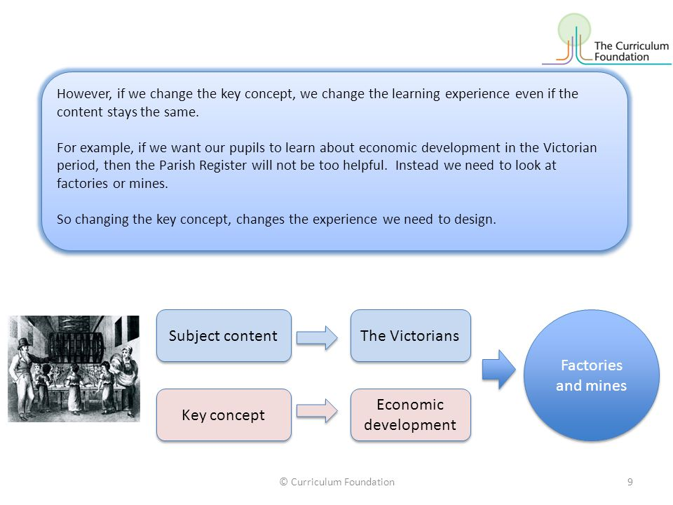© Curriculum Foundation9 Subject content Key concept The Victorians Economic development Factories and mines However, if we change the key concept, we