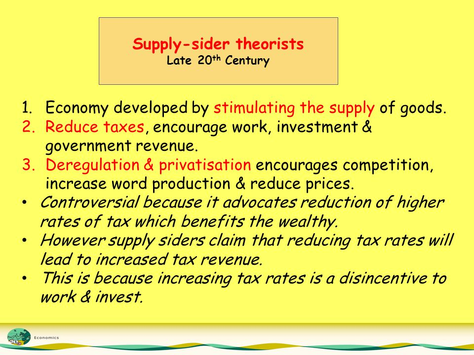 Supply-sider theorists Late 20 th Century 1.Economy developed by stimulating the supply of goods.