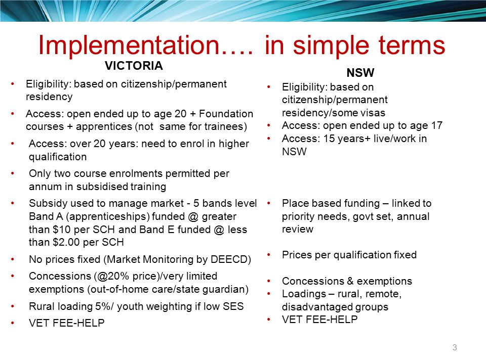 Implementation…. in simple terms VICTORIA Eligibility: based on citizenship/permanent residency Access: open ended up to age 20 + Foundation courses +