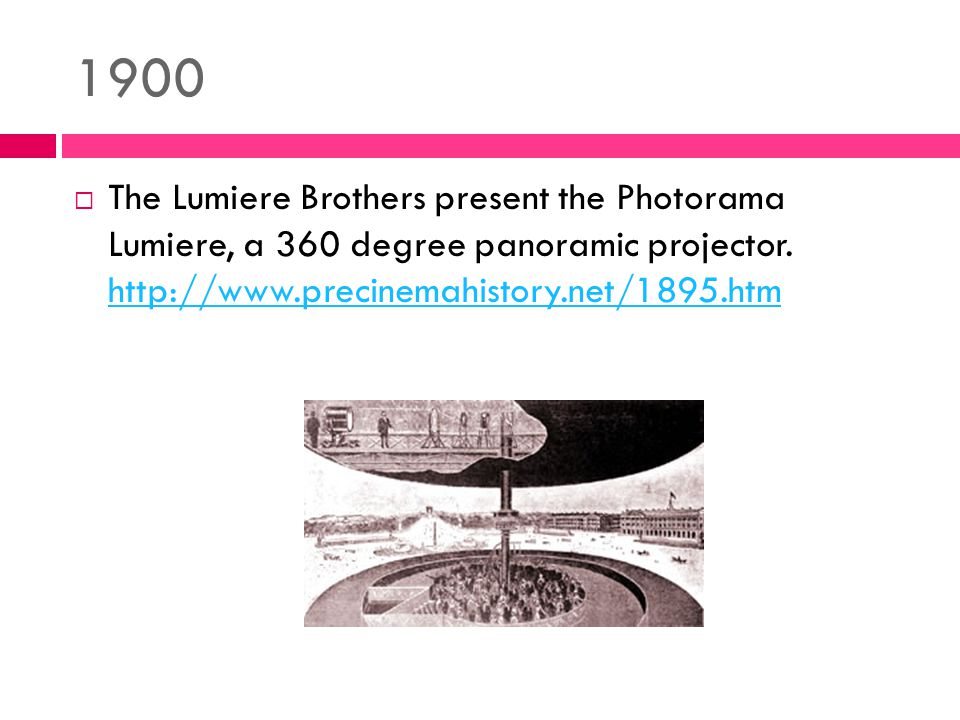 1900  The Lumiere Brothers present the Photorama Lumiere, a 360 degree panoramic projector.