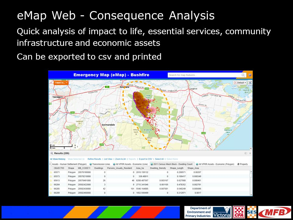 eMap Web - Consequence Analysis Quick analysis of impact to life, essential services, community infrastructure and economic assets Can be exported to