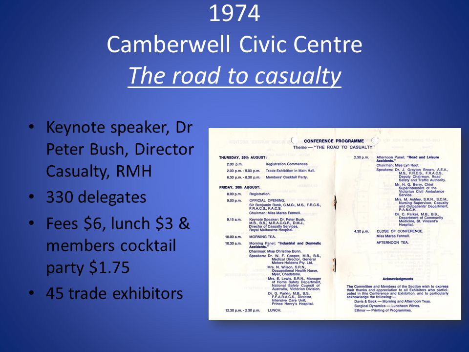1974 Camberwell Civic Centre The road to casualty Keynote speaker, Dr Peter Bush, Director Casualty, RMH 330 delegates Fees $6, lunch $3 & members cocktail party $1.75 45 trade exhibitors